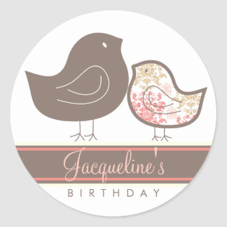 Sweet Pink Damask Chicks Birthday Party Sticker