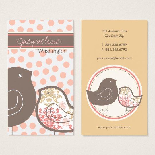 Sweet Pink Damask Chicks & Polka Dots Profile Card