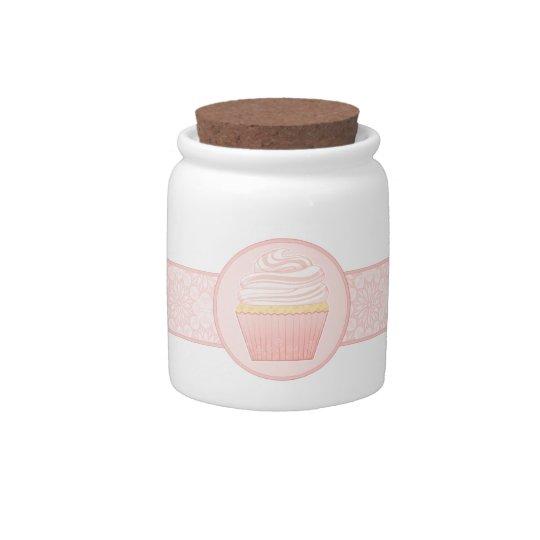 Sweet Pink Elegant Cupcake Candy Jar