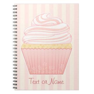 Sweet Pink Elegant Cupcake Spiral Note Books