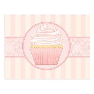 Sweet Pink Elegant Cupcake Postcard