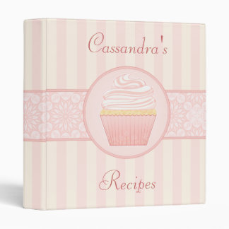 "Sweet Pink Elegant Cupcake Recipe 1"" Binders"