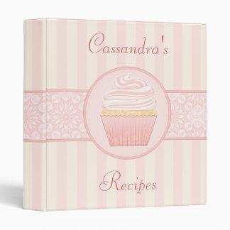 """Sweet Pink Elegant Cupcake Recipe 1"""" Vinyl Binder"""