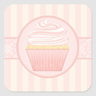 Sweet Pink Elegant Cupcake seals Square Sticker