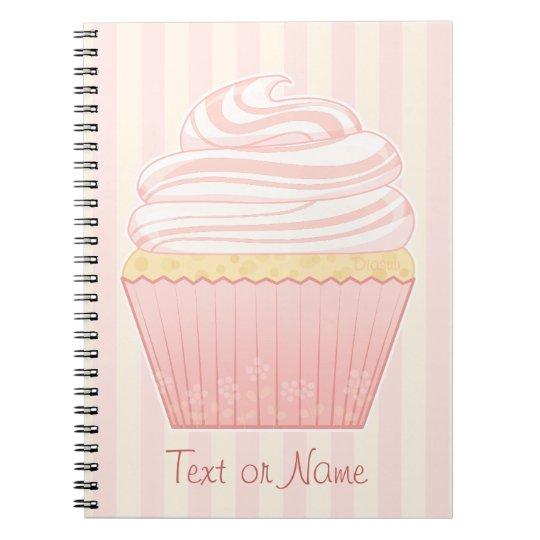 Sweet Pink Elegant Cupcake Spiral Notebook