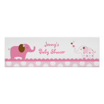 Sweet Pink Elephant Baby Shower Banner Sign