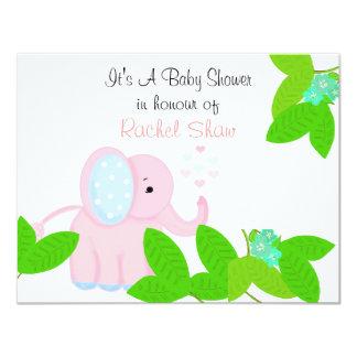 "Sweet Pink Elephant Baby Shower Invitation 4.25"" X 5.5"" Invitation Card"