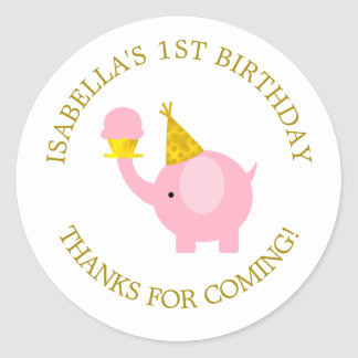 Sweet Pink Elephant Birthday Party Classic Round Sticker