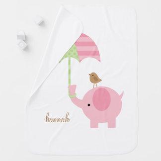 Sweet Pink Elephant Receiving Blanket