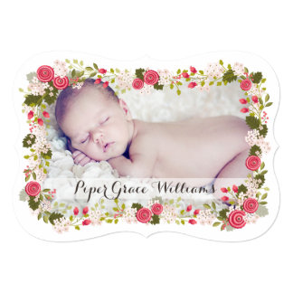 Sweet Pink Floral Baby Girl Birth Announcement
