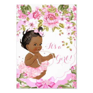 Sweet Pink Floral Baby Shower Girl Ethnic Tutu Card