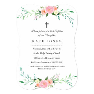 Sweet Pink Floral Baptism Invitation