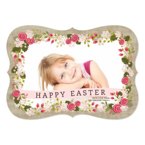 Sweet Pink Floral Easter Greeting Photo Card