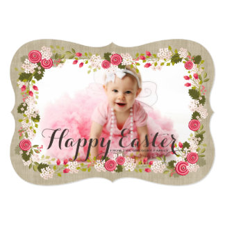 """Sweet Pink Floral Easter Greeting Photo Card 5"""" X 7"""" Invitation Card"""