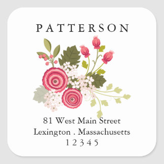 Sweet Pink Floral Garden Return Address Label