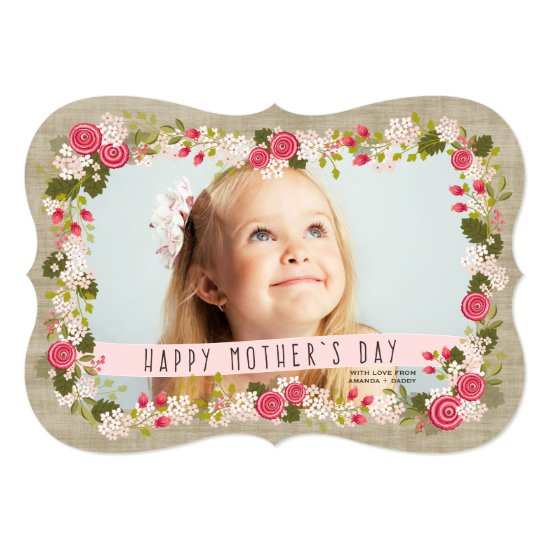 Sweet Pink Floral Happy Mother's Day Photo Card