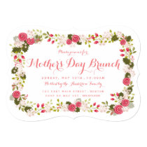 Sweet Pink Floral Mother's Day Brunch Invitation