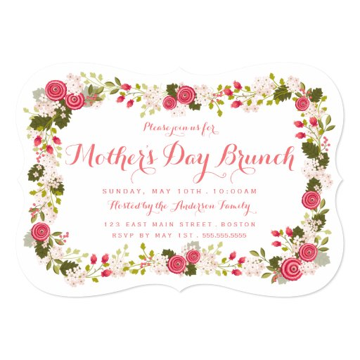 Sweet Pink Floral Mother's Day Brunch Invitation | Zazzle