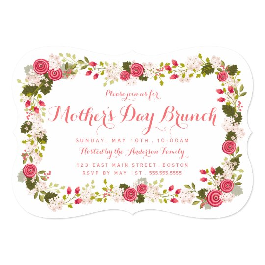 sweet pink floral mother s day brunch invitation zazzle com