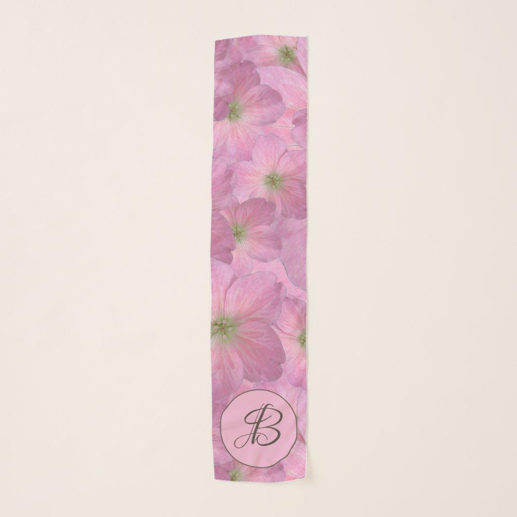 Sweet Pink Floral Pattern with Custom Monogram