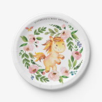 Sweet Pink Floral Pony Horse Baby Shower Birthday Paper Plate
