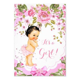 Sweet Pink Floral Rose Baby Shower Girl Brunette Card