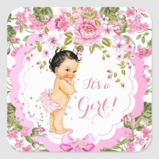 Sweet Pink Floral Rose Baby Shower Girl Brunette Square Sticker