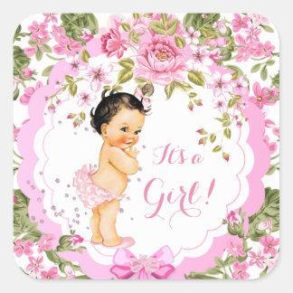 Sweet Pink Floral Rose Baby Shower Girl Brunette Square Sticker