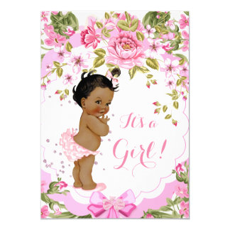 Sweet Pink Floral Rose Baby Shower Girl Ethnic Card