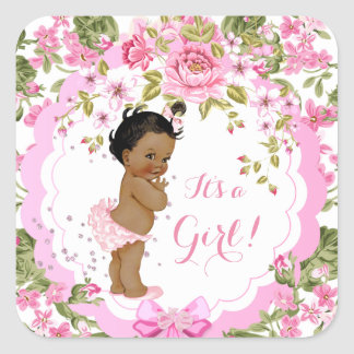 Sweet Pink Floral Rose Baby Shower Girl Ethnic Square Sticker