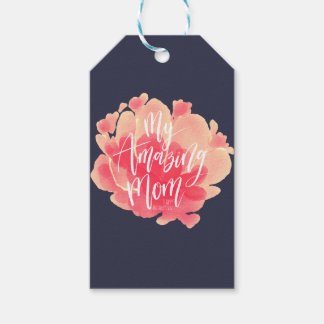 Sweet pink floral watercolor My amazing mom Gift Tags