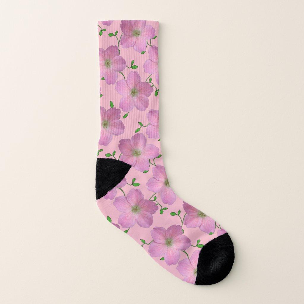 Sweet Pink Garden Flowers on Custom Color