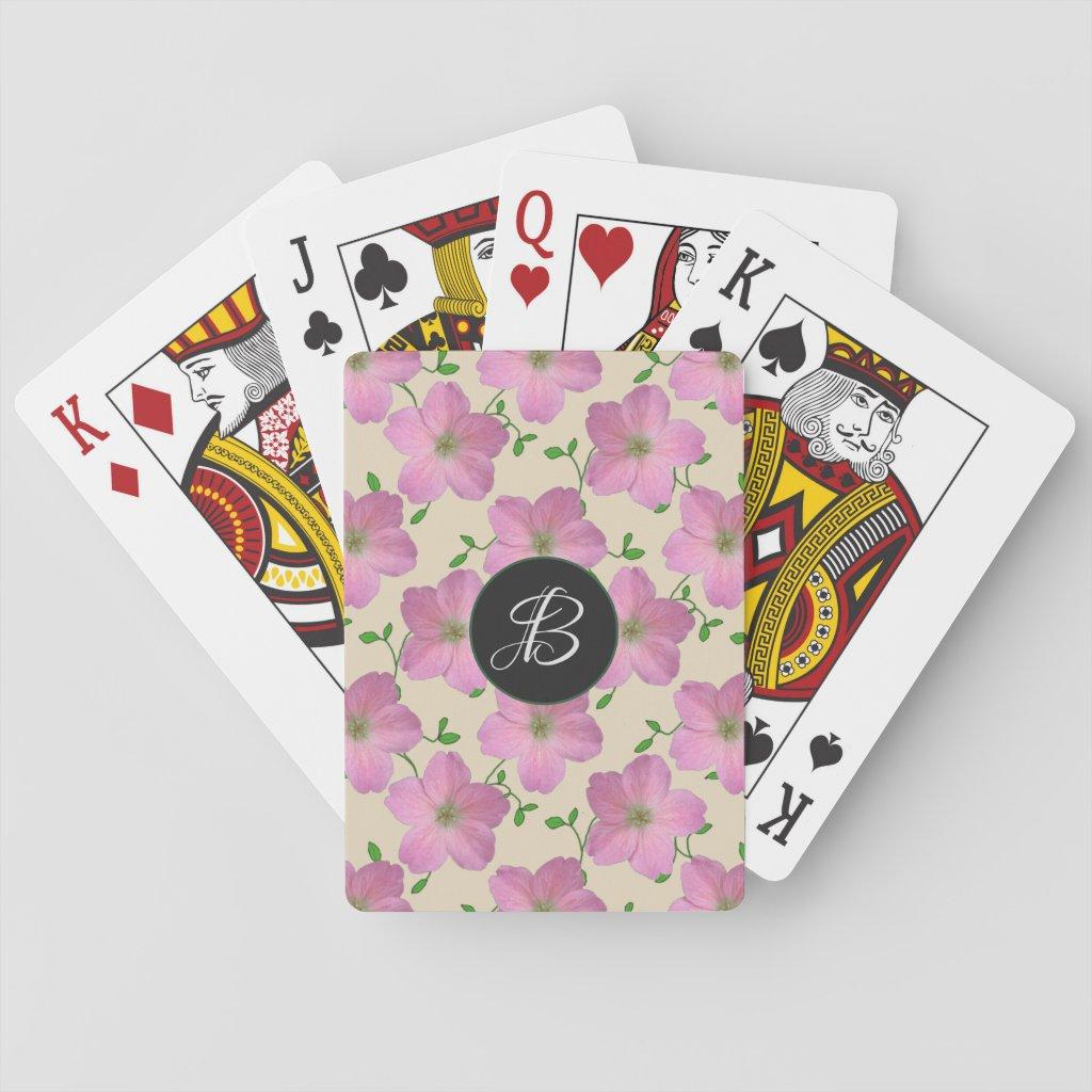 Sweet Pink Garden Flowers with Custom Monogram