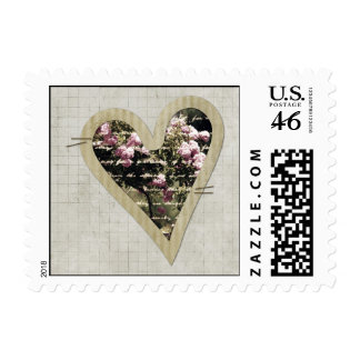 Sweet Pink Garden of Roses Heart Postage Stamps