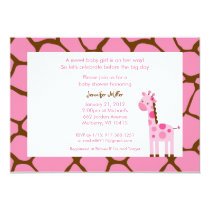 Sweet Pink Giraffe Baby Shower Invitations