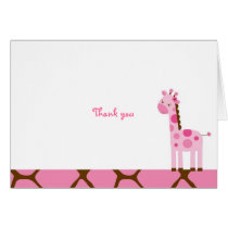 Sweet Pink Giraffe Thank You Note Cards