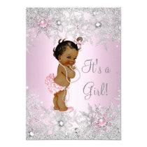 Sweet Pink Girl Girl Baby Shower Snowflake Ethnic Card