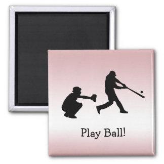 Sweet Pink Girly Baseball Play Ball Sports Magnet