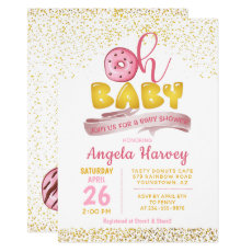 Sweet Pink & Gold Donuts Baby Shower Invitation