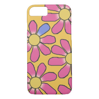 Sweet Pink Graphical Flowers on any Color iPhone 7 Case