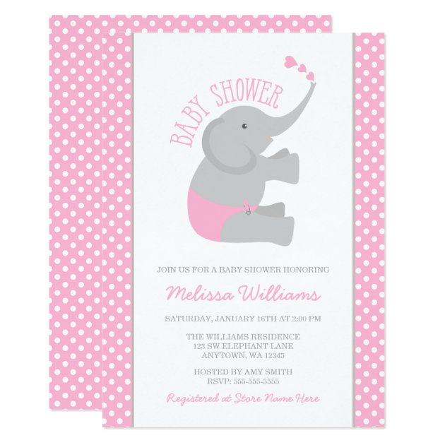 Sweet Pink Gray Elephant Baby Shower Invitations