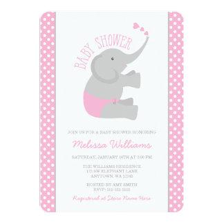 Sweet Pink Gray Elephant Baby Shower Invitations