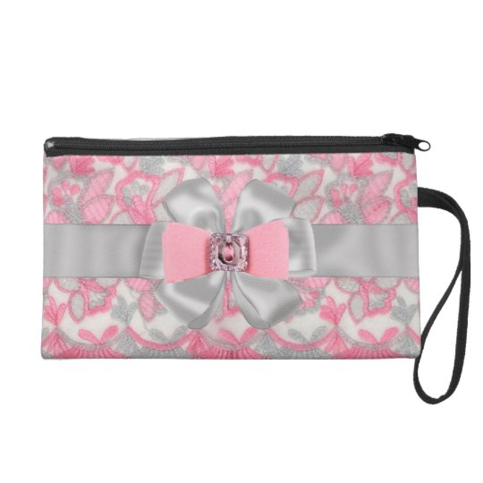 SWEET Pink & Gray Rhinestones & Bow wrislet case