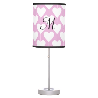 Sweet Pink Heart Design Girly Table Lamp