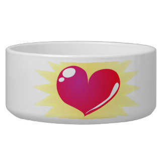 Sweet pink heart pet bowl with love