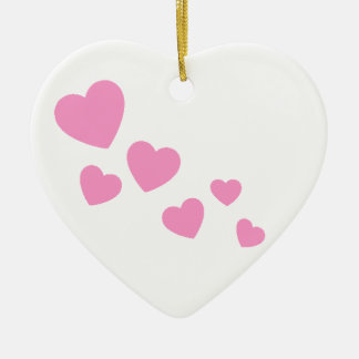 Sweet Pink Hearts Ceramic Ornament