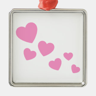 Sweet Pink Hearts Metal Ornament