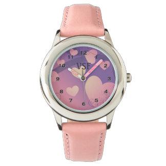 Sweet Pink Hearts Monogram Watch