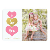 Sweet Pink Hearts   Valentine's Day Photo Card
