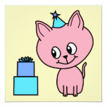 Sweet Pink Kitten Wearing a Birthday Hat. 5.25x5.25 Square Paper Invitation Card